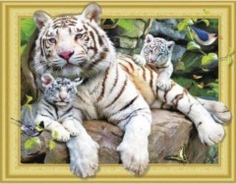 Алмазная Мозаика 5D 40x50 Семья белых тигров (арт.LT0557)