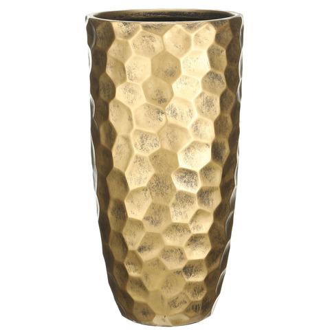 MVASE31-GLD Кашпо Мозаик Ваза, файберстоун,золото, D31.5 H61 cm