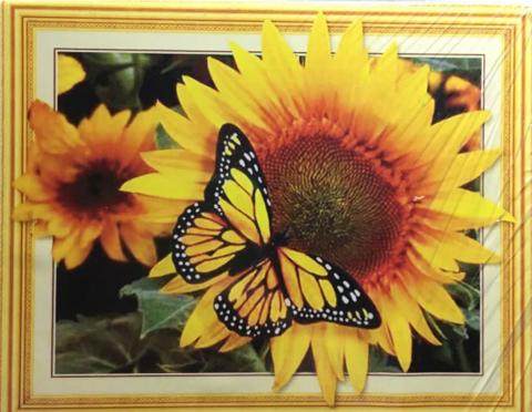 Алмазная Мозаика 5D 40x50 Бабочка на подсолнухе (арт. HZ8022)