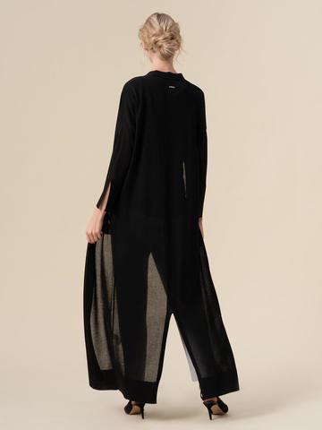 Женский удлиненный кардиган черного цвета из вискозы - фото 4