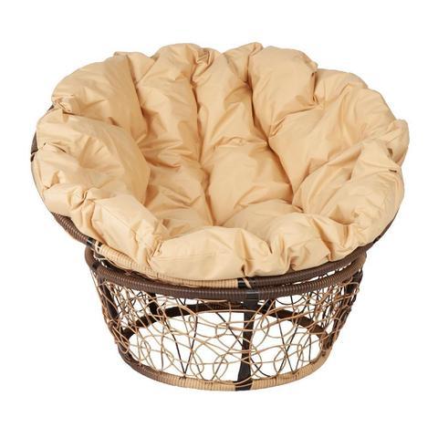 Кресло Papasan, цвет плетения светло-коричневый, цвет подушки бежевый