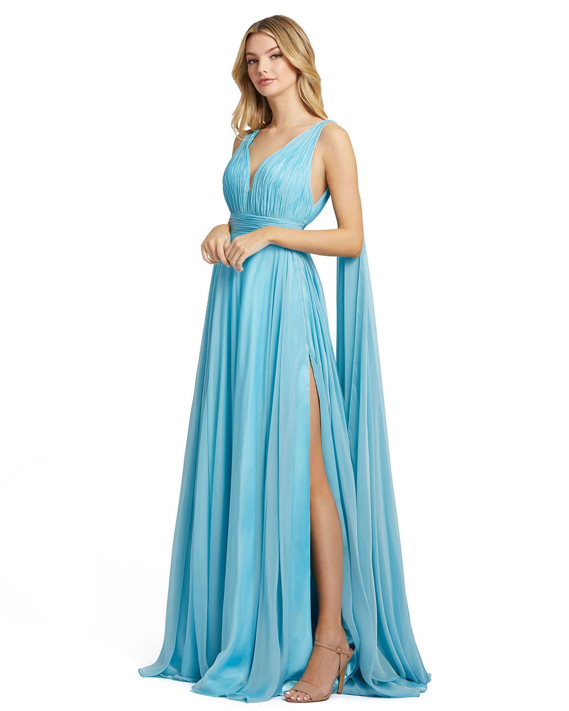 Голубое длинное платье из воздушного шифона