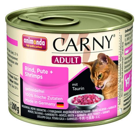 Консервы Animonda Carny Adult с говядиной, индейкой и креветками для взрослых кошек