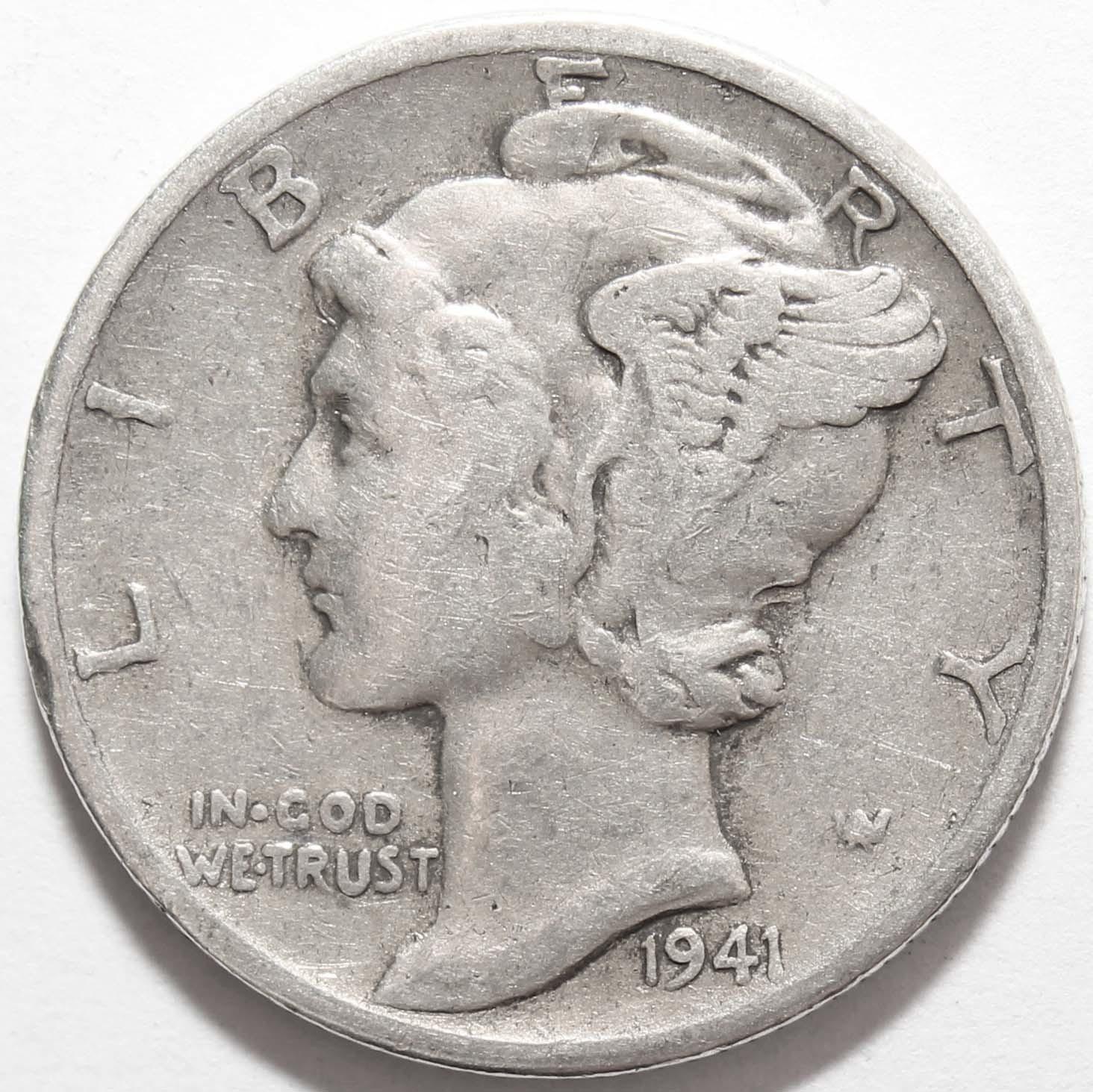 1 дайм (10 центов) 1941. США VF- (Меркурий) Серебро