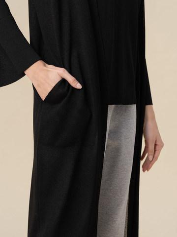 Женский удлиненный кардиган черного цвета из вискозы - фото 3