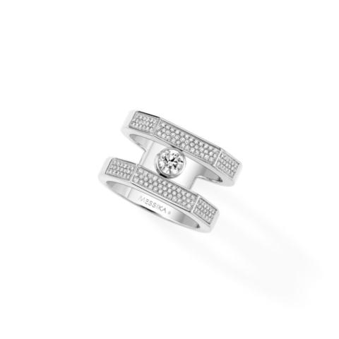 89029- Кольцо Move широкое  из серебра с двигающимися цирконами
