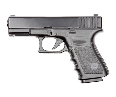 Страйкбольный пистолет Glock G23, грин-газ, Metal Slide, черный (KJW)
