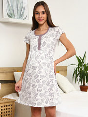 Мамаландия. Сорочка для беременных и кормящих с кнопками большие размеры, веточки/белый