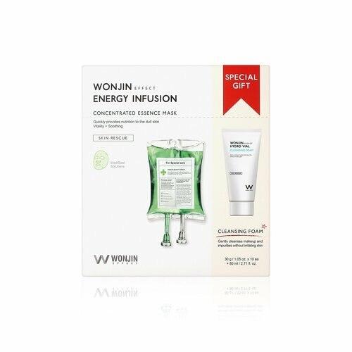 Набор тканевые маски + пенка Wonjin Energy Supplement + Cleansing Foam 10 шт+80 мл