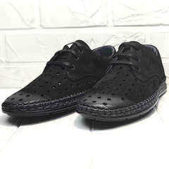 Мужские туфли мокасины стиль кэжуал Luciano Bellini 91754-S-315 All Black.