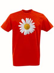 Футболка с принтом Цветы (Ромашки) красная 002