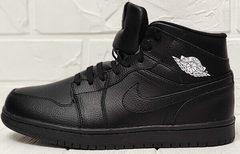 Кожаные мужские кроссовки черные зимние Nike Air Jordan 1 Retro High Winter BV3802-945 All Black