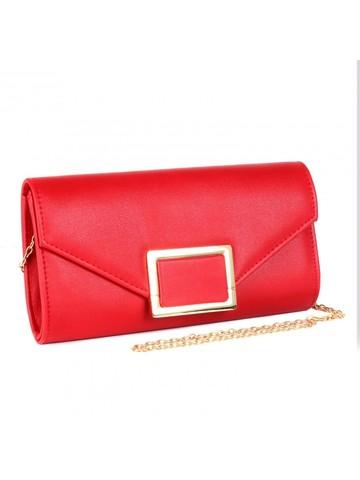 Клатч красного цвета с золотой фурнитурой