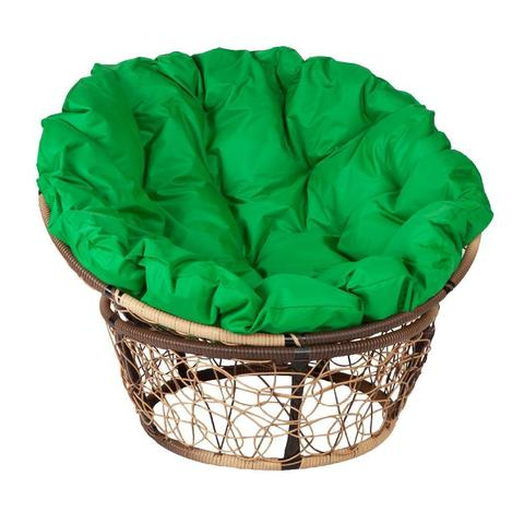 Кресло Papasan, цвет плетения светло-коричневый, цвет подушки зеленый
