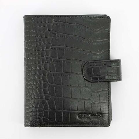 Портмоне большое S.Quire, натуральная воловья кожа, черный, фактурная, 11,2x14,2 см