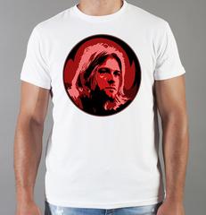 Футболка с принтом Курт Кобейн, Нирвана (Nirvana, Kurt Cobain) белая 0017