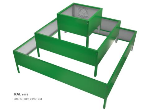 Клумба квадратная оцинкованная Пирамида 3 яруса  RAL 6002 Зеленая листва