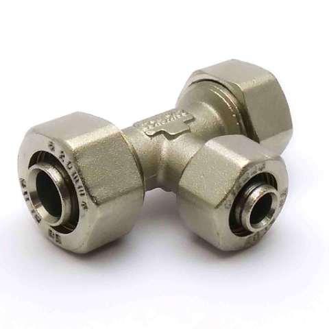Тройник обжимной для металлопластиковых труб  20*16*20 мм SD Plus