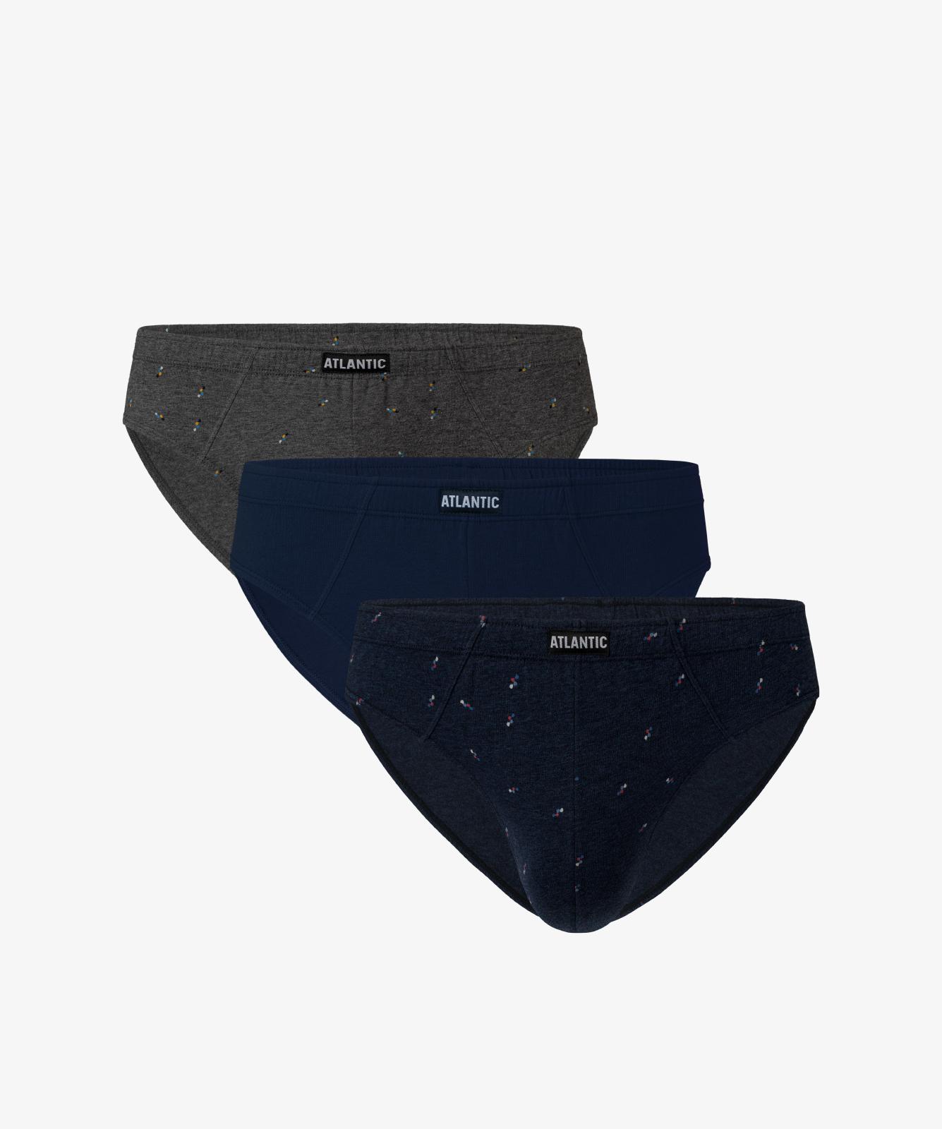 Мужские трусы слипы спорт Atlantic, набор 3 шт., хлопок, темно-серый меланж + темно-синие + темно-синий меланж, 3MP-100