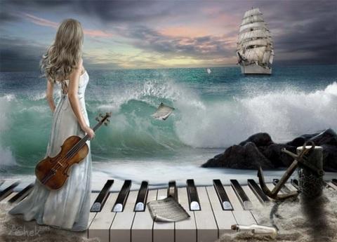Алмазная Мозаика 40x50 Музыка и море (арт. GA75171 )