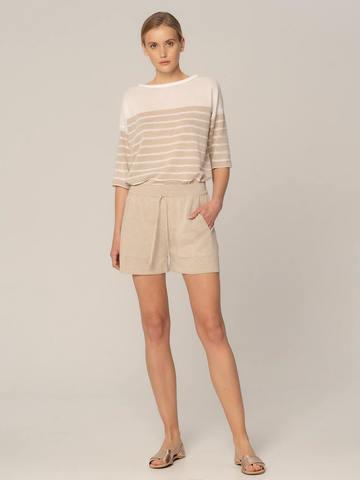Женские шорты песочного цвета из вискозы - фото 3