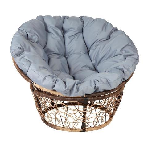 Кресло Papasan, цвет плетения светло-коричневый, цвет подушки серый