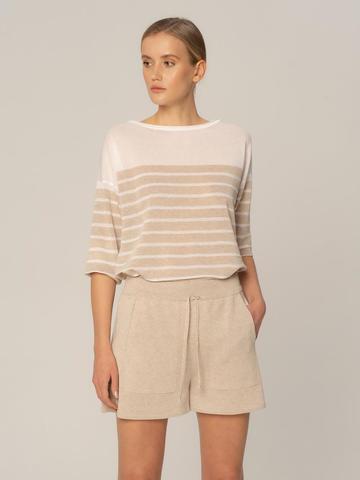 Женские шорты песочного цвета из вискозы - фото 4