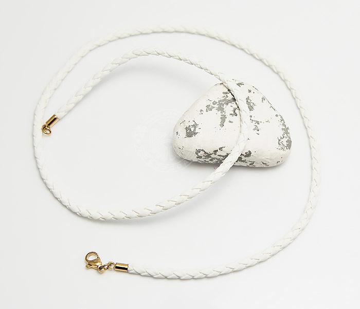 PL283-2 Белый плетеный шнурок из искусственной кожи премиум (55 см) фото 02