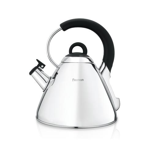 5945 FISSMAN Чайник MAGNOLIA 2,5л для кипячения воды со свистком (нерж.сталь); Ручки - нерж.сталь,бакелит; Индукция;