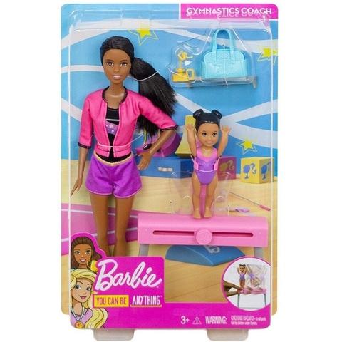 Барби тренер по гимнастике в розовой кофте Брюнетка