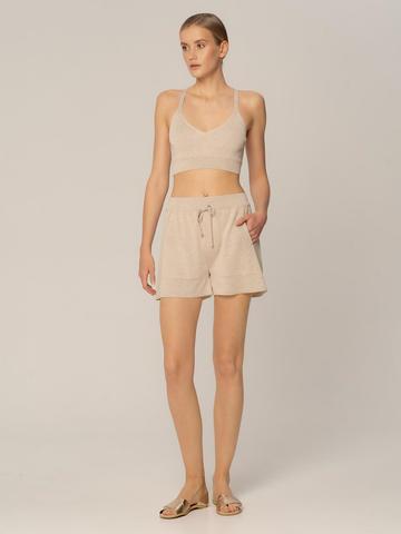 Женские шорты песочного цвета из вискозы - фото 2