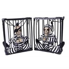 Анимированная игрушка Скелет арестант в клетке