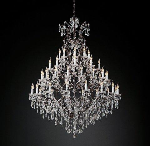 Подвесной светильник копия 19th C. Rococo Iron & Clear Crystal Round Chandelier 59