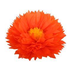 Бумажный цветок 40 см оранжевый+ярко-желтый