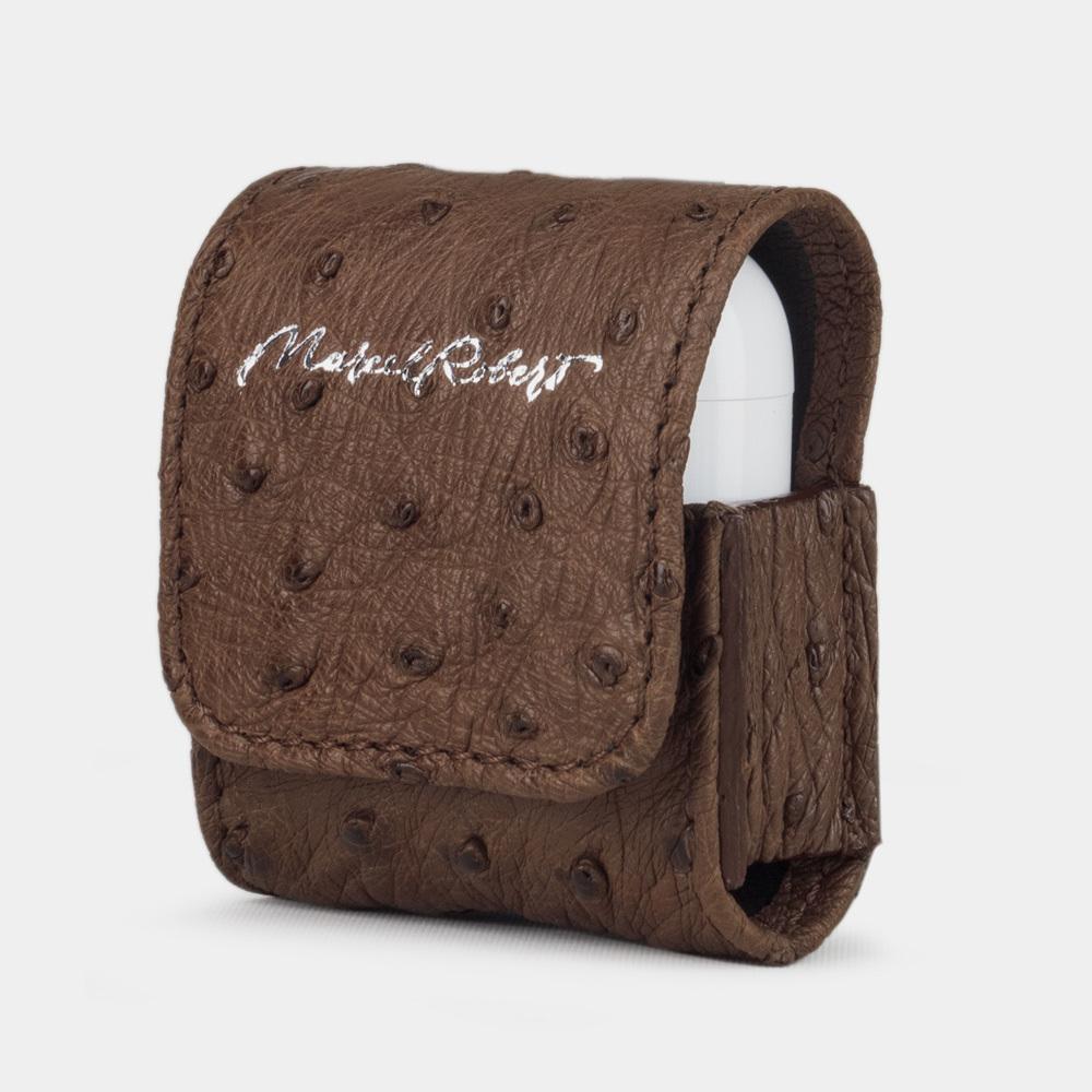 Чехол-держатель для наушников Petit Bisness из натуральной кожи страуса, коричневого цвета