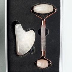 Набор для массажа роллер и скребок из розового кварца (в коробке)