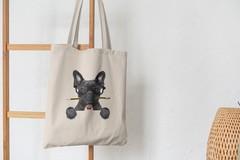 Сумка-шоппер с принтом Собака, Французский бульдог (Dog) бежевая 0010