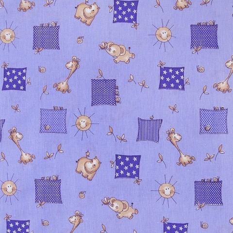 Бязь ГОСТ детская 150 см 366/5 Жирафики цвет фиолетовый