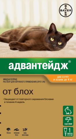 Адвантейдж для кошек весом менее 4кг (1 пипетка)