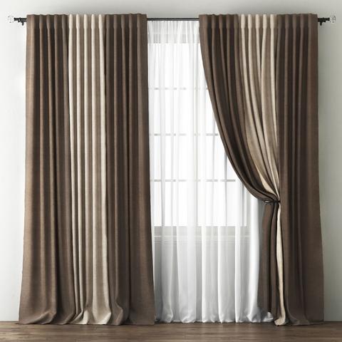 Комплект штор с подхватами Карин шоколадный-бежево-коричневый