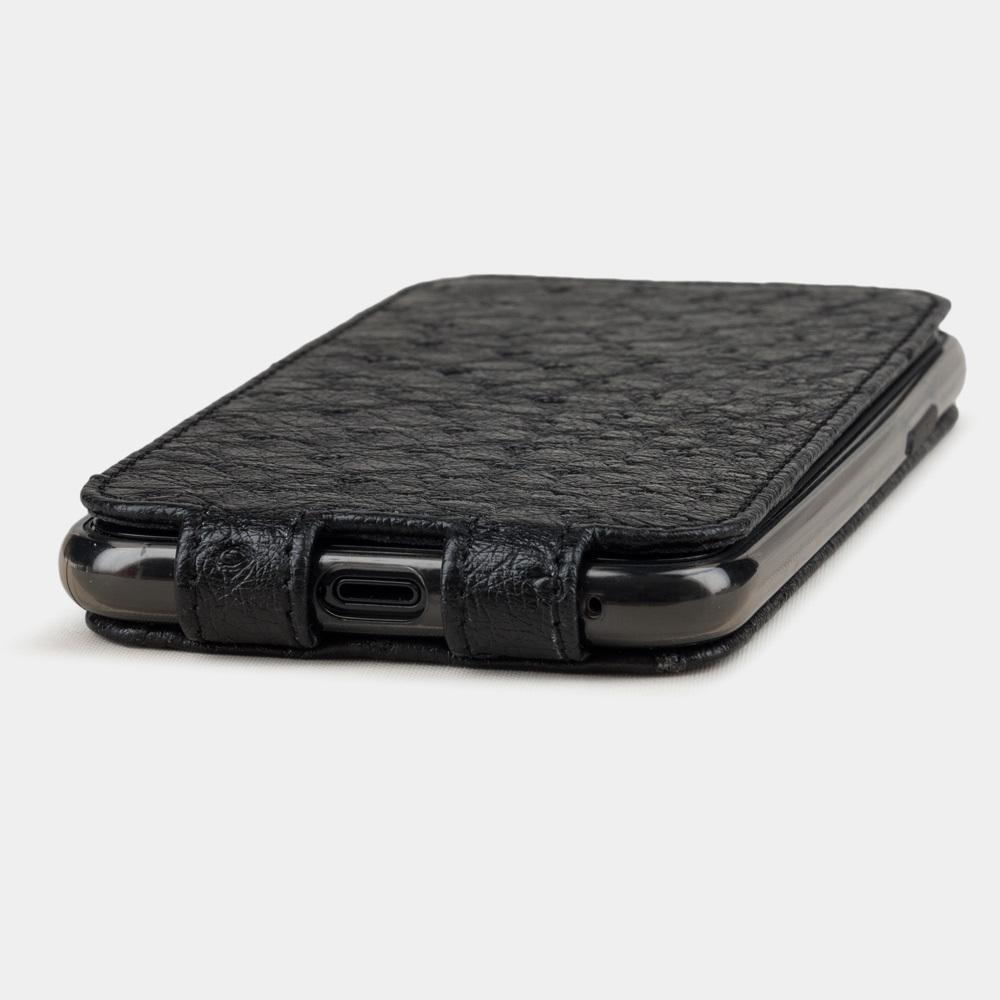 Чехол для iPhone 11 Pro Max из натуральной кожи страуса, черного цвета