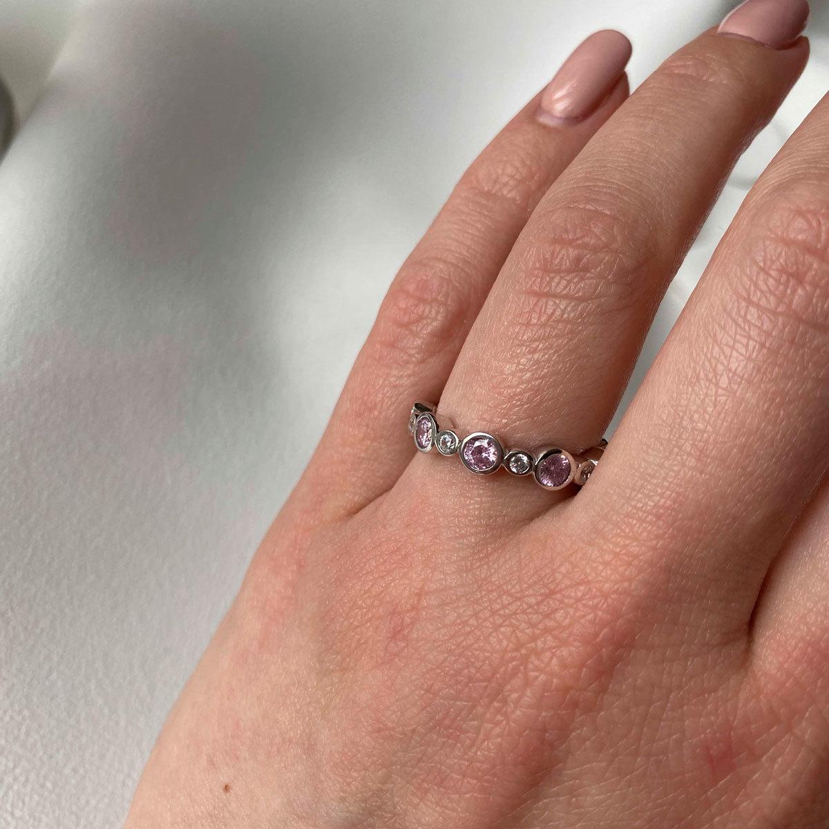 Кольцо Дорожка с Цирконами в ободах розовый белый (серебро 925)