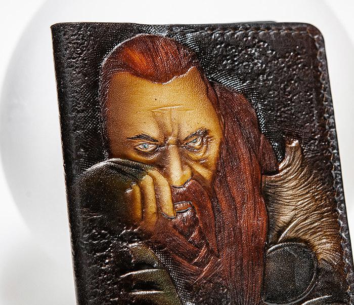 BC228 Обложка из кожи ручной работы «Викинг» фото 03