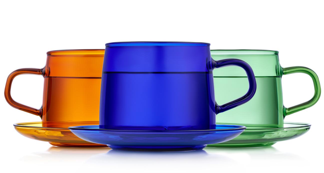 Чашка с блюдцем, чайная пара Стеклянные цветные кружки с блюдцами 3 штуки, 350 мл b2-800.PNG
