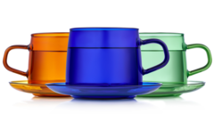 Стеклянные цветные кружки с блюдцами 3 штуки, 350 мл