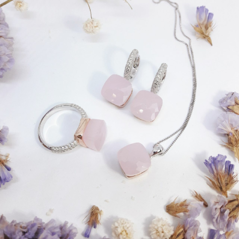 33362- Комплект Caramel  из серебра с розовым кварцем 3 изделия