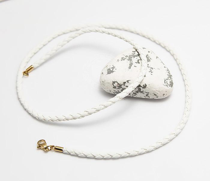 PL283-2 Белый плетеный шнурок из искусственной кожи премиум (55 см) фото 03