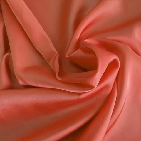 Шелк искусственный 100% полиэстер, цвет коралловый ш. 220 см