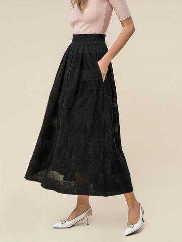 Женская юбка черного цвета из вискозы - фото 2