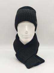 Мужской комплект шапка с отворотом и шарф, черный